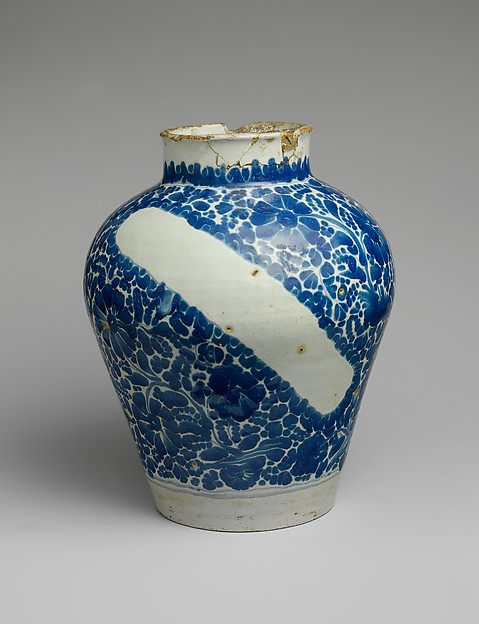 Apothecary Jar, Attributed to Damián Hernández (Mexican, active 1607–70), Tin-glazed earthenware, Mexican