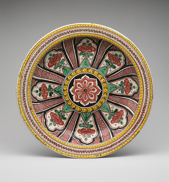 Dish, Tin-glazed earthenware, Mexican