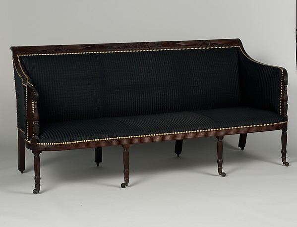 Sofa, Attributed to the Workshop of Duncan Phyfe (1770–1854), Mahogany, white pine, tulip poplar, American