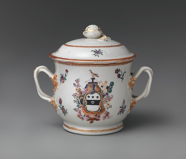 Covered Two-handled Bowl and Tray, Hard-paste porcelain, Chinese, for American market