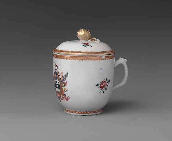 Cup and Saucer, Porcelain, Chinese, for American market