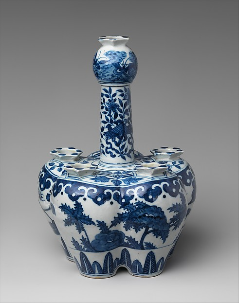 Bulb Pot, Porcelain, Chinese