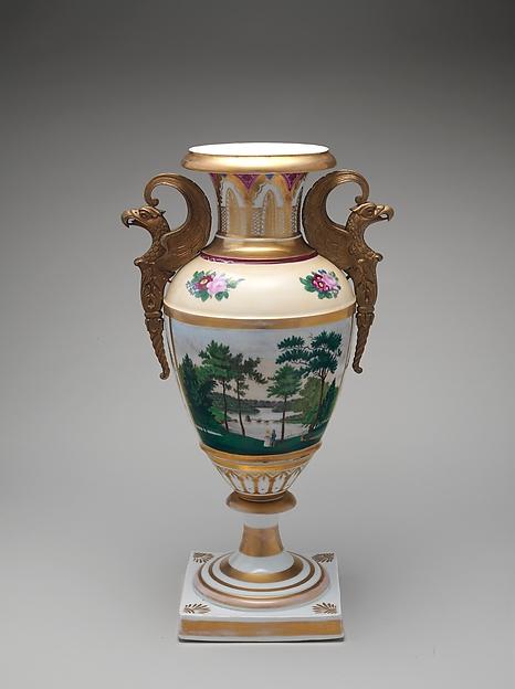 Vase, Tucker Factory (1826–1838), Porcelain, brass, American