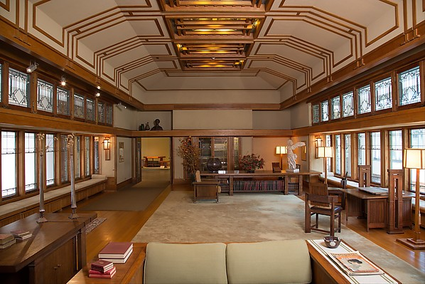 Living Room from the Francis W. Little House: Windows and paneling, Frank Lloyd Wright (American, Richland Center, Wisconsin 1867–1959 Phoenix, Arizona), Oak, leaded glass, American
