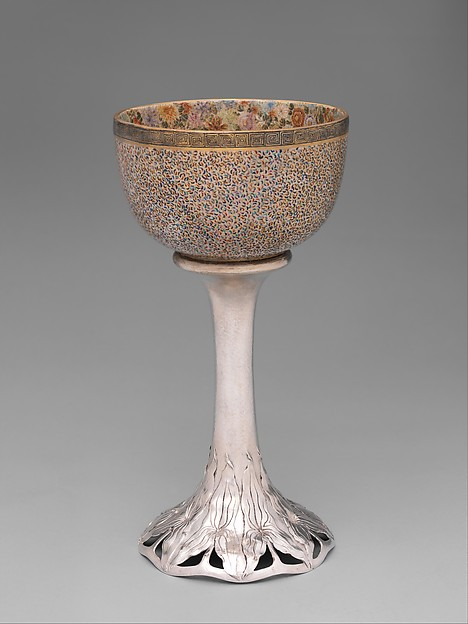 Goblet, Shreve & Company, Silver and Satsuma ware ceramic, American