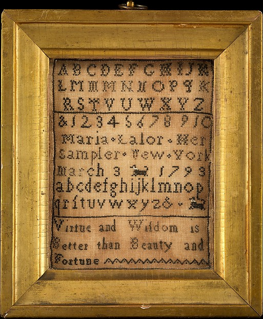 Embroidered Sampler, Maria Lalor, Silk embroidery on linen, American