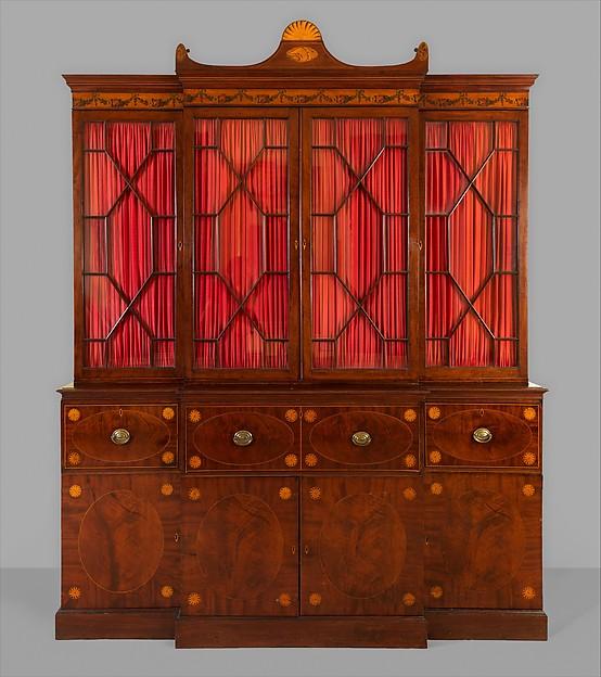 Secretary and bookcase, Mahogany, mahogany and satinwood veneers with white and yellow pine, yellow poplar, cedar, American