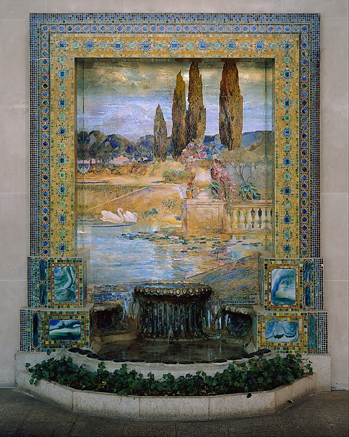 Garden Landscape, Designed by Louis Comfort Tiffany (American, New York 1848–1933 New York), Favrile-glass mosaic, American