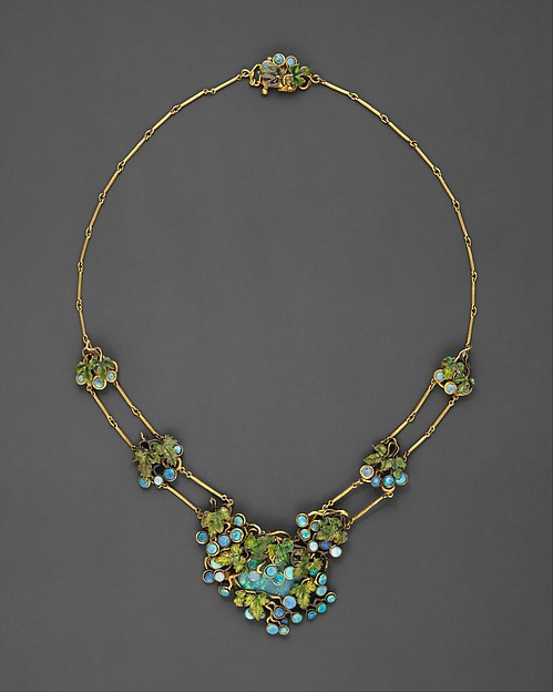 Necklace, Louis Comfort Tiffany (American, New York 1848–1933 New York), Opals, gold, enamel, American