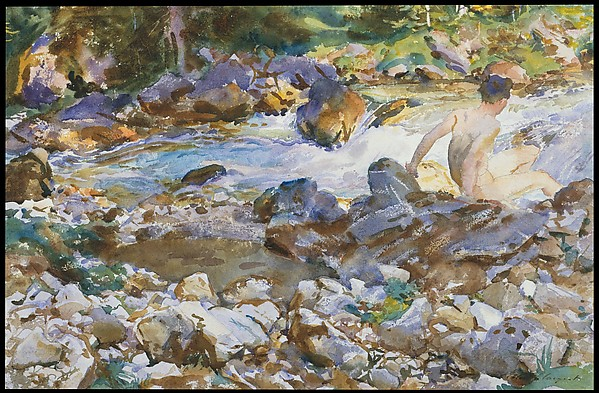 Mountain Stream, John Singer Sargent (American, Florence 1856–1925 London), Watercolor and graphite on off-white wove paper, American