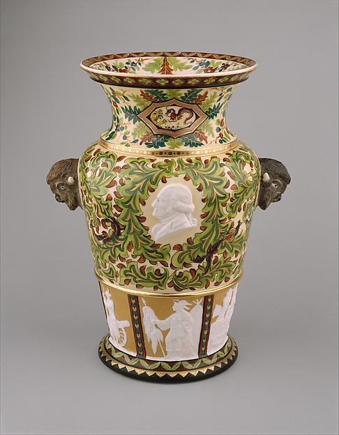 Century Vase, Karl L. H. Müller (ca. 1820–1887), Porcelain, American