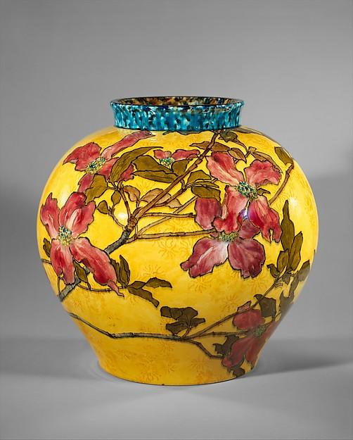 Vase, John Bennett (1840–1907), Painted and glazed earthenware, American