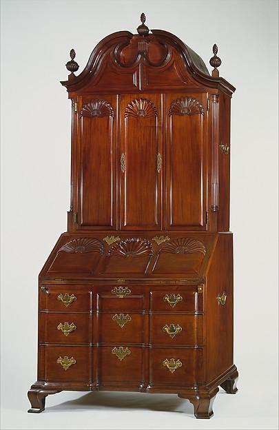 Desk and bookcase, Mahogany, chestnut, white pine, yellow pine, tulip poplar, cedar, American