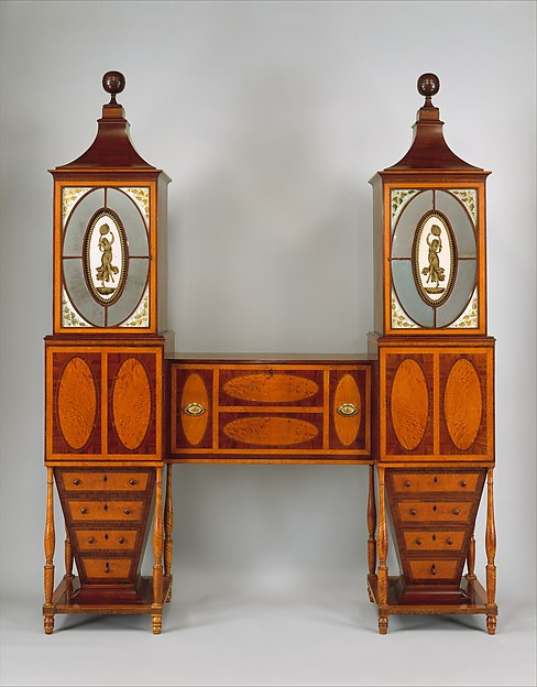 Desk and Bookcase, Mahogany, satinwood, maple, verre églomisé with cedar, American