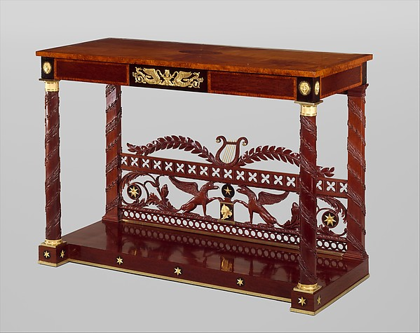 Pier table, Joseph B. Barry and Son (1757–1838), Mahogany, mahogany veneer, satinwood, amboyna, pine, gilt bronze with yellow poplar, American