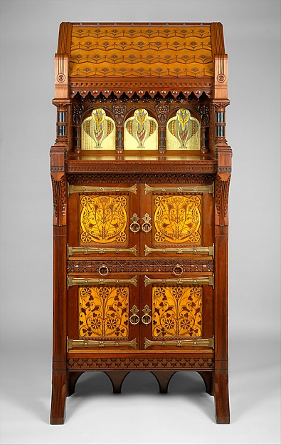 Cabinet, Attributed to Daniel Pabst (1826–1910), Walnut, maple, white pine, glass, American