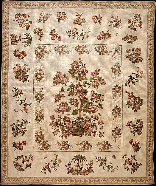Chintz appliquéd quilt, Mary Malvina Cook Taft (1812–1905), Cotton, Chintz appliquéd, American