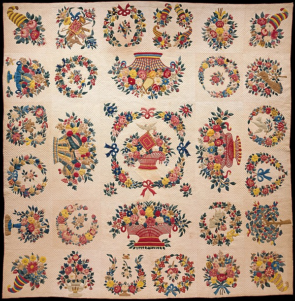 Quilt, Presentation pattern, Designs attributed to Mary Hergenroder Simon (1808–1877), Cotton and silk velvet, American