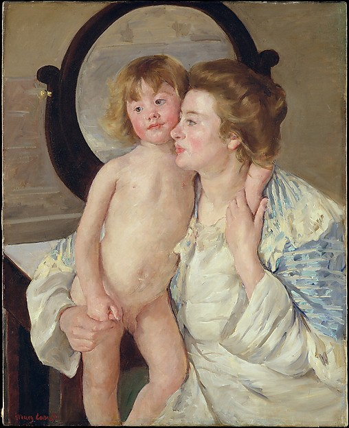Mother and Child (The Oval Mirror), Mary Cassatt (American, Pittsburgh, Pennsylvania 1844–1926 Le Mesnil-Théribus, Oise), Oil on canvas, American