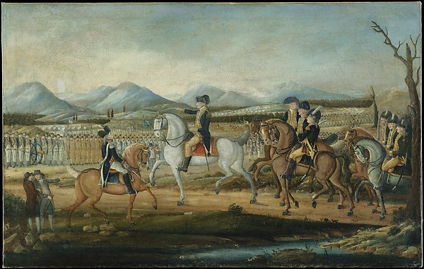 Washington Reviewing the Western Army at Fort Cumberland, Maryland, Attributed to Frederick Kemmelmeyer (ca. 1755–1821), Oil on canvas, American