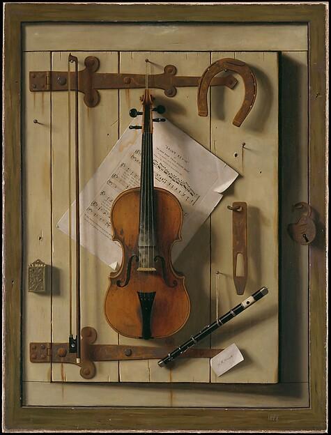Still Life—Violin and Music, William Michael Harnett (1848–1892), Oil on canvas, American