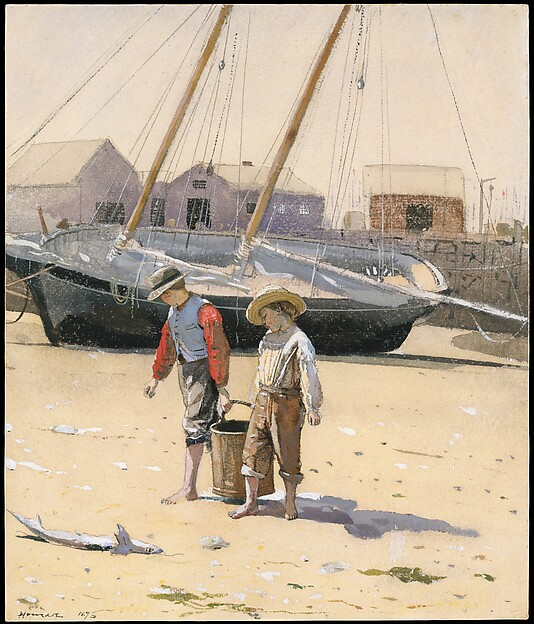 A Basket of Clams, Winslow Homer (American, Boston, Massachusetts 1836–1910 Prouts Neck, Maine), Watercolor on wove paper, American