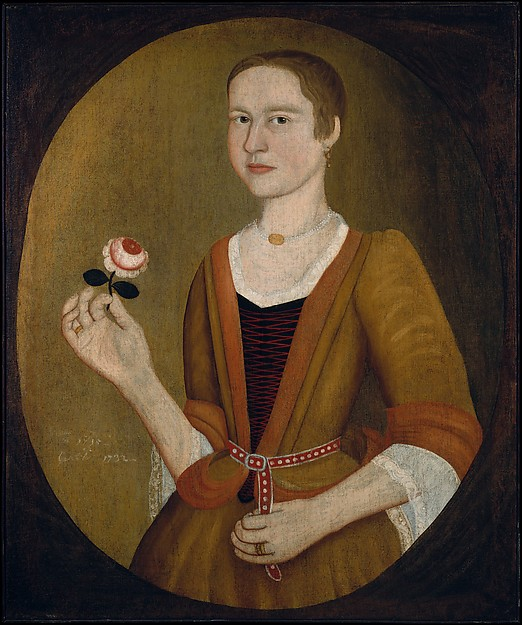 Young Lady with a Rose, Attributed to Pieter Vanderlyn (ca. 1687–1778), Oil on canvas, American