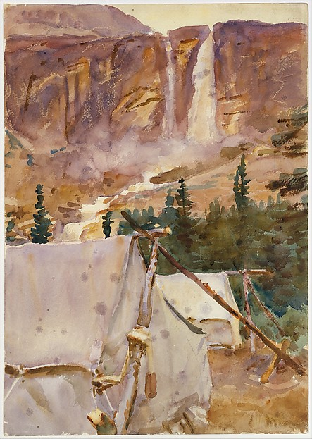 Camp and Waterfall, John Singer Sargent (American, Florence 1856–1925 London), Watercolor and graphite on white wove paper, American