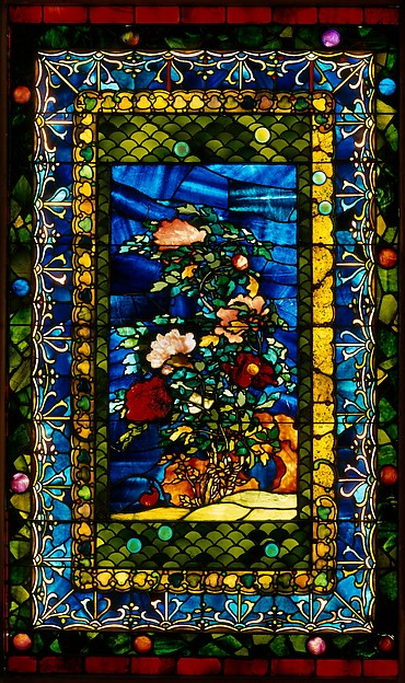 Peonies Blown in the Wind, John La Farge (American, New York 1835–1910 Providence, Rhode Island), Leaded opalescent glass, American