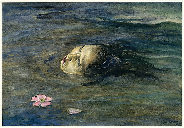 The Strange Thing Little Kiosai Saw in the River, John La Farge (American, New York 1835–1910 Providence, Rhode Island), Watercolor and gouache on Japanese tissue laid down on white wove paper, American
