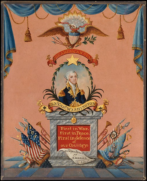 The American Star (George Washington), Frederick Kemmelmeyer (ca. 1755–1821), Oil and gold leaf on paper, American