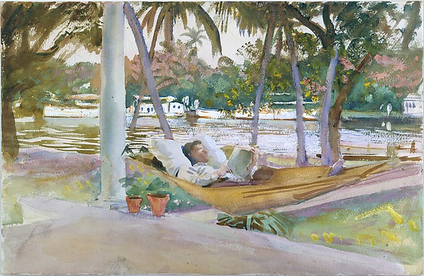 Figure in Hammock, Florida, John Singer Sargent (American, Florence 1856–1925 London), Watercolor, gouache, and graphite on white wove paper, American