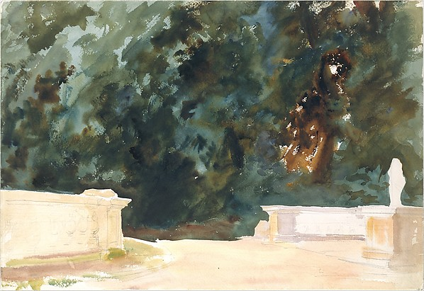Terrace and Gardens, John Singer Sargent (American, Florence 1856–1925 London), Watercolor, graphite, and wax on white wove paper, American