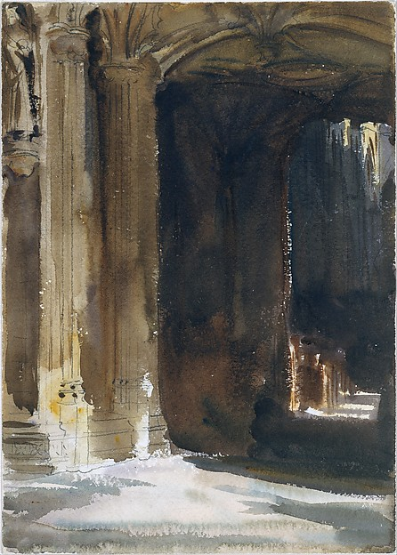 Cathedral Interior, John Singer Sargent (American, Florence 1856–1925 London), Watercolor and graphite on white wove paper, American