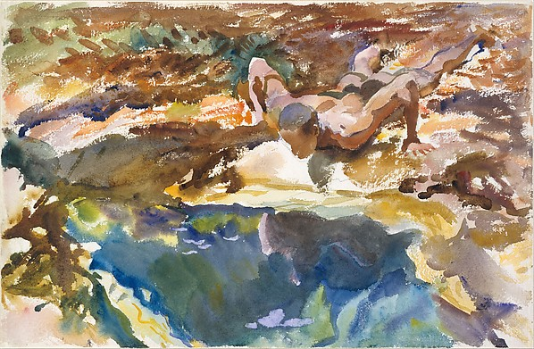 Man and Pool, Florida, John Singer Sargent (American, Florence 1856–1925 London), Watercolor, gouache, and graphite on white wove paper, American