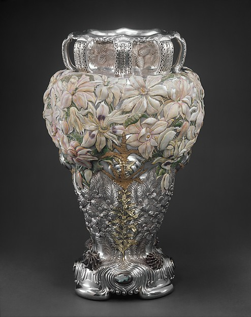 The Magnolia Vase, Manufactured by Tiffany & Co. (1837–present), Silver, gold, enamel, opals, American