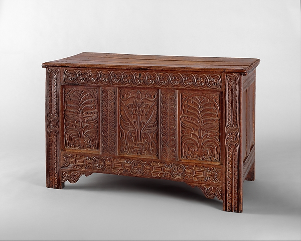 Chest, Possibly William Searle (died 1667), White oak, red oak, American