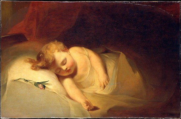 Child Asleep (The Rosebud), Thomas Sully (American, Horncastle, Lincolnshire 1783–1872 Philadelphia, Pennsylvania), Oil on canvas, American