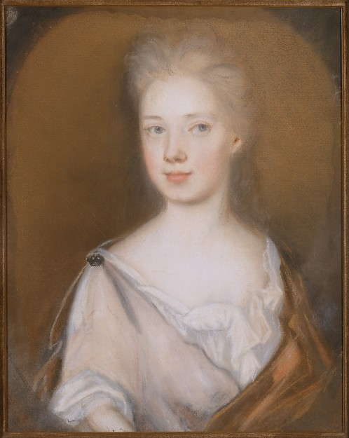 Mrs. Pierre Bacot (Marianne Fleur Du Gue), Henrietta Johnston (ca. 1674–1729), Pastel and red and black chalk on toned laid paper., American