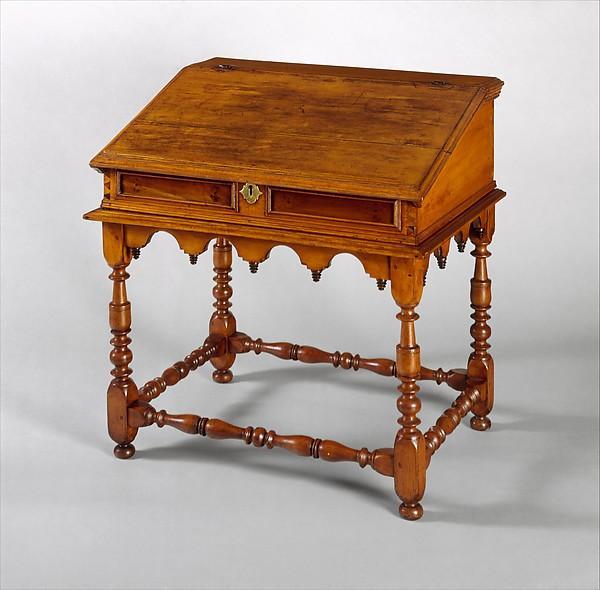 Desk-on-frame, Sweet gum, possibly mahogany veneer, yellow poplar, American