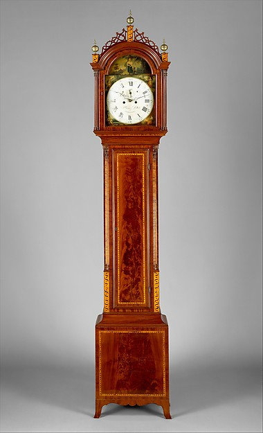 Tall Clock, Case attributed to Thomas Seymour (1771–1848), Mahogany, mahogany veneer,