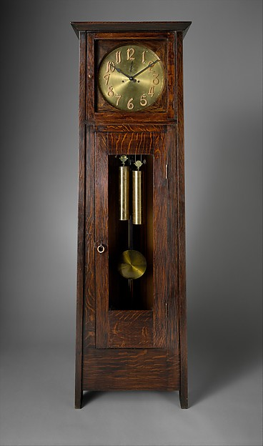 Tall Clock, Gustav Stickley (American, Osceola, Wisconsin 1858–1942 Syracuse, New York), Oak, brass, American