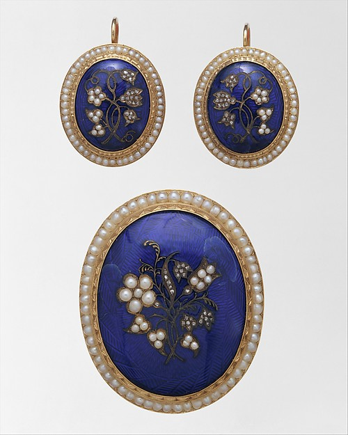 Brooch, Edward Burr (active 1838–68), Gold, pearls, diamonds, and enamel, American
