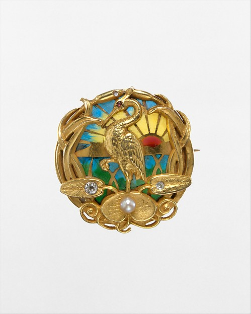 Watch Pin, Riker Brothers (active 1892–1926), Gold, plique-à-jour enamel, diamonds, pearl, and ruby, American
