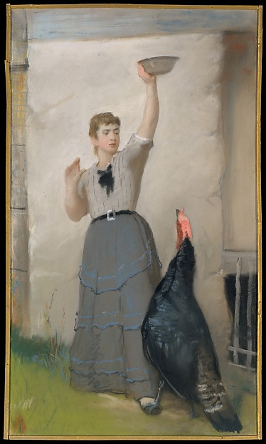 Feeding the Turkey, Eastman Johnson (American, Lovell, Maine 1824–1906 New York), Pastel on wove paper, mounted to canvas on a wooden stretcher, American