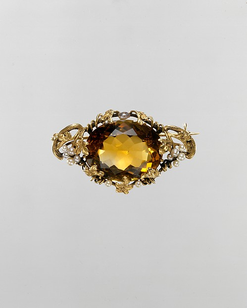 Brooch, George Bell (American, active 1904–22), Gold, citrine, and seed pearls, American