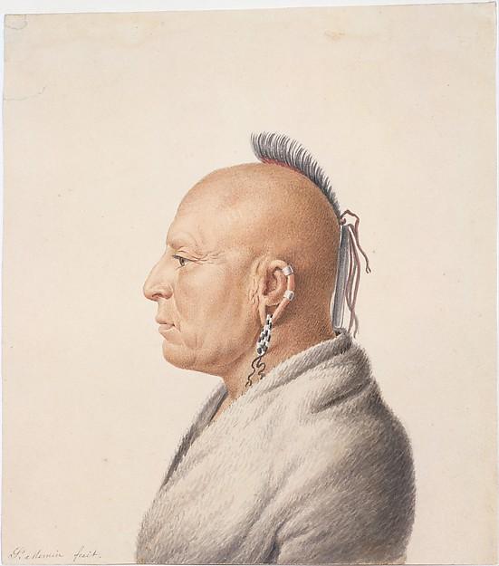 Osage Warrior, Charles Balthazar Julien Févret de Saint-Mémin (1770–1852), Watercolor and graphite on off-white wove paper, American