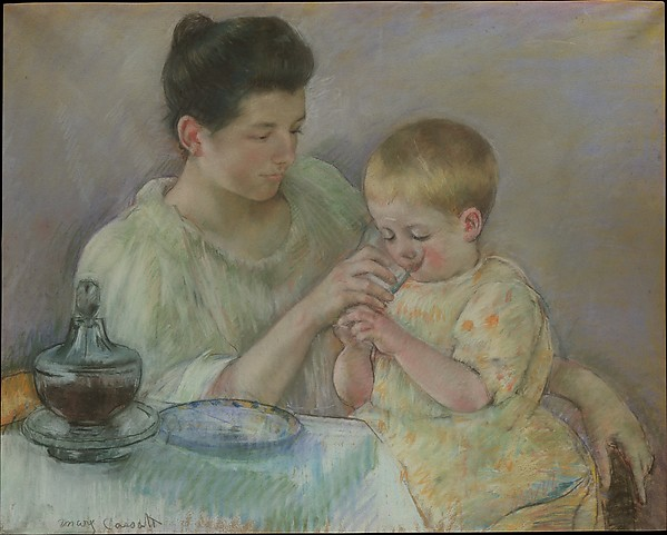 Mother Feeding Child, Mary Cassatt (American, Pittsburgh, Pennsylvania 1844–1926 Le Mesnil-Théribus, Oise), Pastel on wove paper, mounted on canvas, American