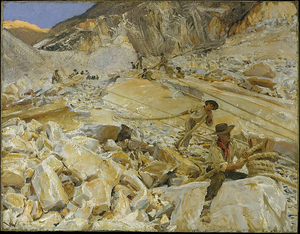 Bringing Down Marble from the Quarries to Carrara, John Singer Sargent (American, Florence 1856–1925 London), Oil on canvas, American