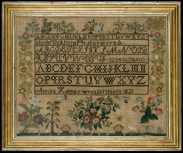 Embroidered sampler, Almira Holmes (born 1803), Embroidered silk on linen, American
